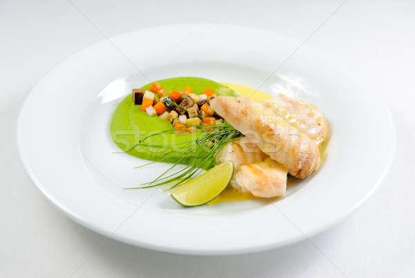 Balık fileto sos sebze plaka gıda Stok fotoğraf © amok