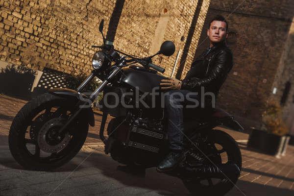 человека сидят мотоцикл улице моде спорт Сток-фото © amok