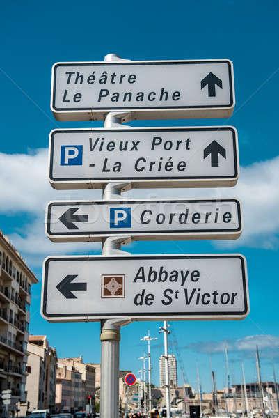 Jelzőtábla Marseille Franciaország város kék utazás Stock fotó © amok