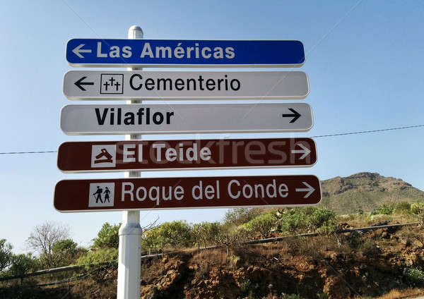 Road sign. Tenerife, Canary Islands Stock photo © amok