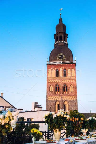 Bruiloft tabel kerk Riga Letland hemel Stockfoto © amok