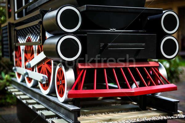 Stoomlocomotief Rood speelgoed vintage nieuwe Stockfoto © amok