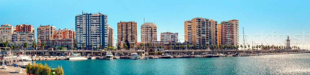 Panoramic view of Benalmadena harbor. Puerto Marina. Malaga, Spain Stock photo © amok