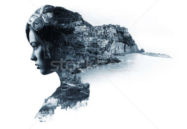 Double exposure portrait of a woman and view of Manarola Stock photo © amok