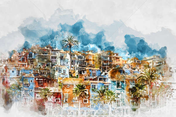 Digital watercolor painting  of Villajoyosa skyline. Spain Stock photo © amok