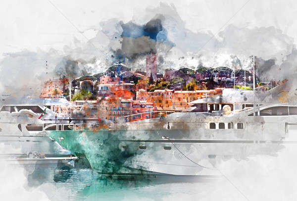 View of Le Suquet- the old town and Port Le Vieux of Cannes France. Digital watercolor painting Stock photo © amok