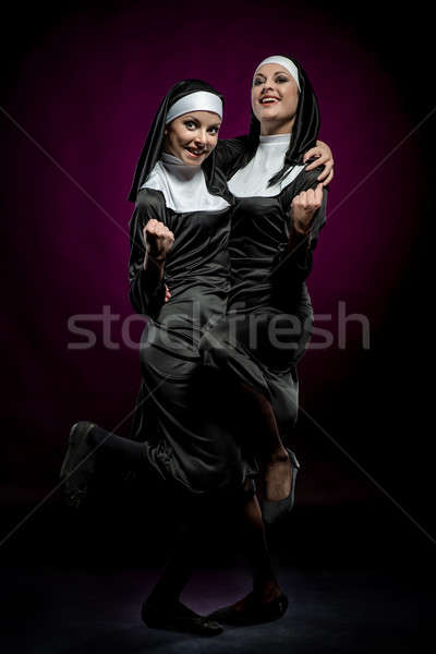 Two funny nuns indoors Stock photo © amok