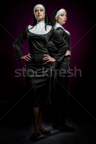 Dois atraente jovem posando moda Foto stock © amok