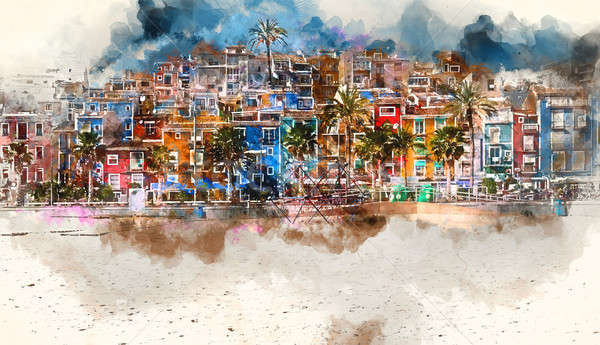 Villajoyosa skyline, digital watercolor painting. Spain Stock photo © amok