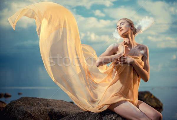 Young beautiful woman as swan posing on the beach at sunset Stock photo © amok