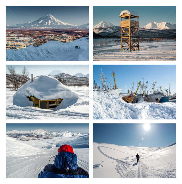 Kamchatka Peninsula collage. Far East, Russia Stock photo © amok