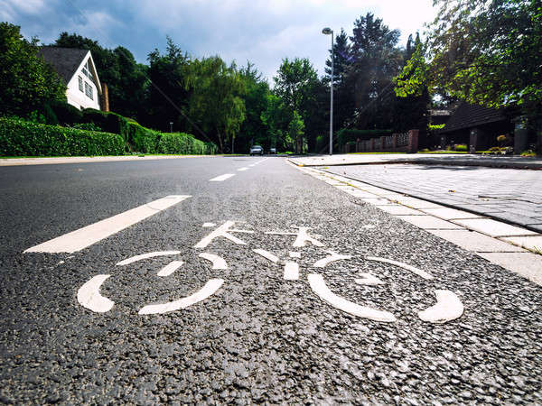 Stock photo: Bicycle road sign on asphalt
