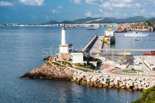Stock photo: Lighthouse and port of Ibiza town, Balearic Islands. Spain