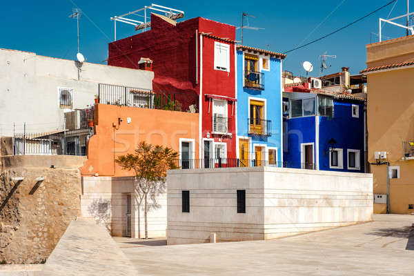 Multicolored houses of Villajoyosa town. Costa Blanca. Spain Stock photo © amok