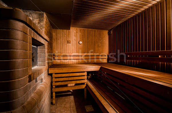 Inside of modern finnish sauna Stock photo © amok