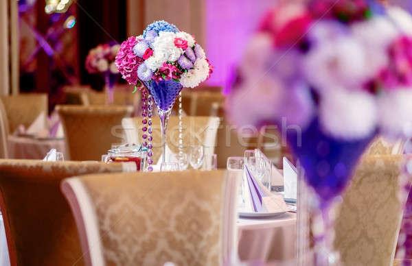 Luxe bruiloft banket restaurant tabel stoel Stockfoto © amok