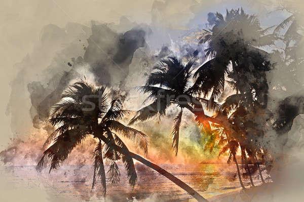 Idyllic scene of palm trees near the sea at sunset Stock photo © amok