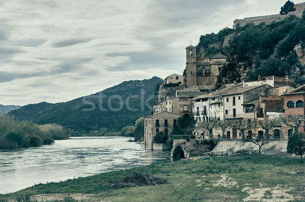 Miravet village and Ebro river. Province of Tarragona. Spain Stock photo © amok