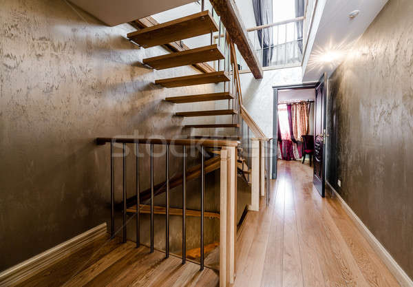 Wooden stairway in home Stock photo © amok