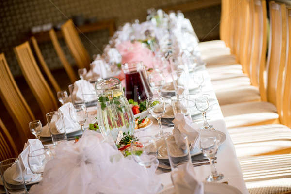 Luxe banket tabel restaurant voedsel plaat Stockfoto © amok