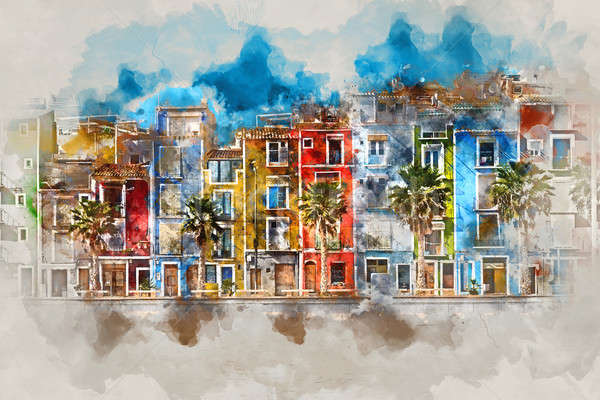 Digital watercolor painting of Villajoyosa town  Stock photo © amok