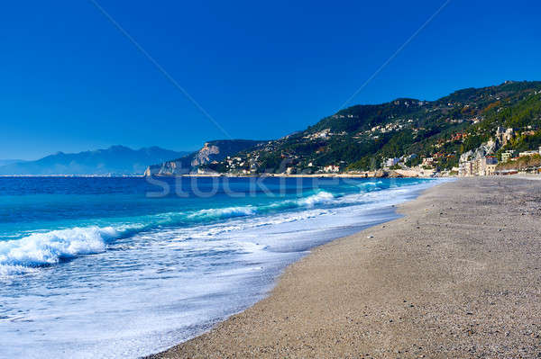Empty beach. Province of Savona, Liguria. Italy Stock photo © amok
