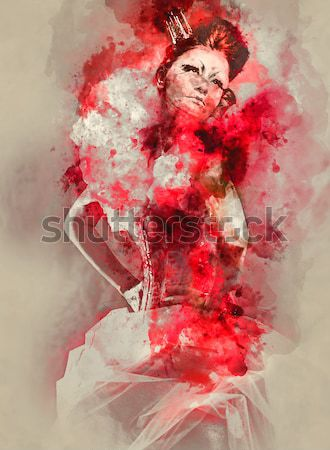 Sexy woman with a bicycle combined with an abstract watercolor.  Stock photo © amok
