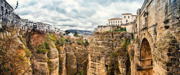 Panoramic view of the old city of Ronda, the famous white villag Stock photo © amok