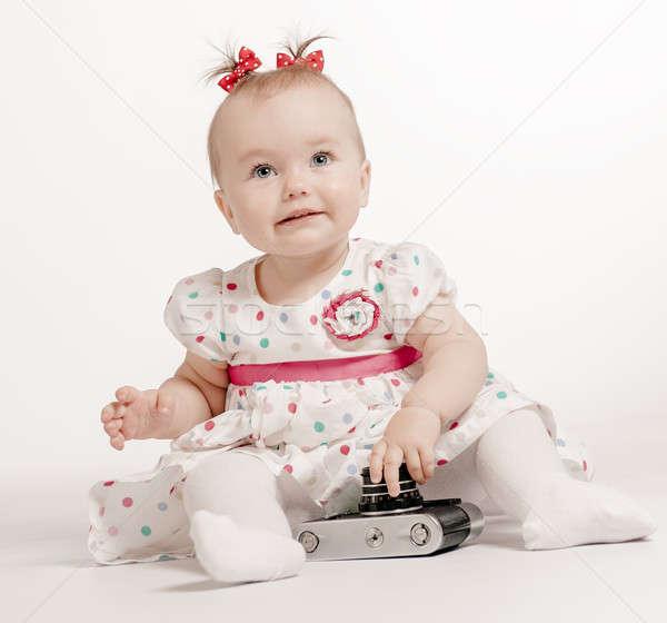 çok güzel bebek Retro kamera beyaz yüz Stok fotoğraf © amok
