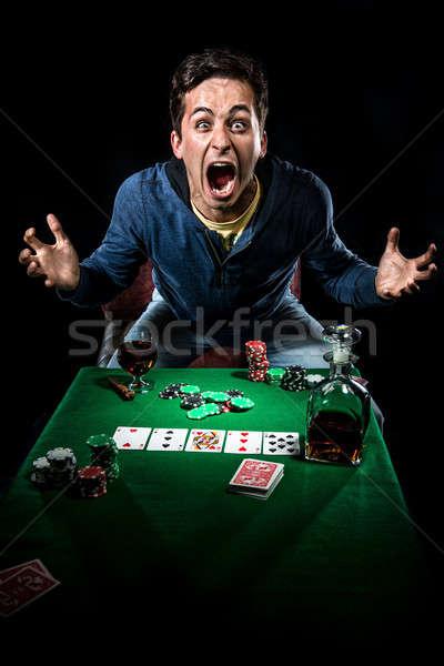 Kumarbaz erkekler kumarhane poker stres tek başına Stok fotoğraf © amok