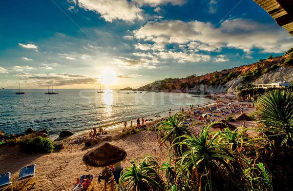 Cala d'Hort Beach at sunset. Balearic Islands. Ibiza Stock photo © amok