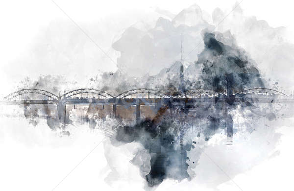 鉄道 橋 デジタル 水彩画 絵画 川 ストックフォト © amok