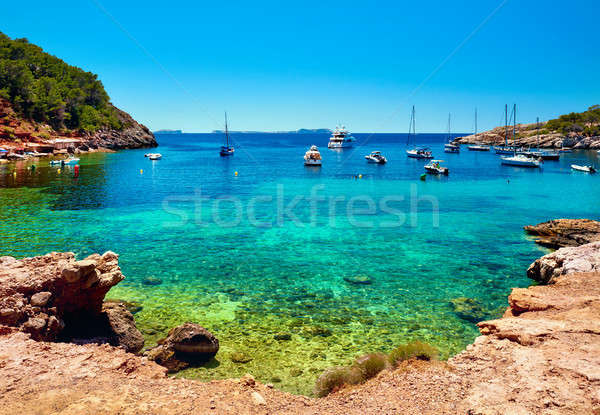 Sailboats at Cala Salada lagoon. Idyllic scenery. Ibiza, Balearic Islands. Spain Stock photo © amok