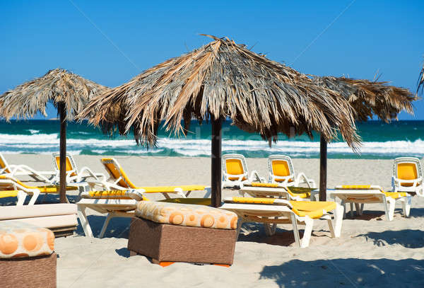 Parasols with deckchairs on the beach under blue sky. La Manga s Stock photo © amok
