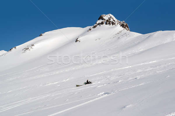 View of Pinachevsky pass and snowmobile. Kamchatka. Russia Stock photo © amok