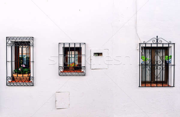 Windows with steel lattice on a whitewashed wall Stock photo © amok