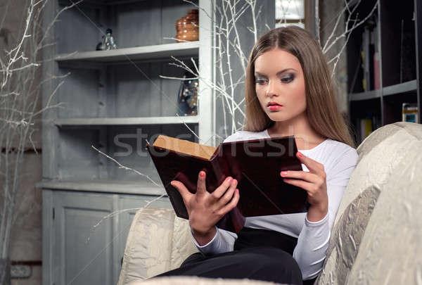 красивая женщина чтение книга женщину студент Сток-фото © amok