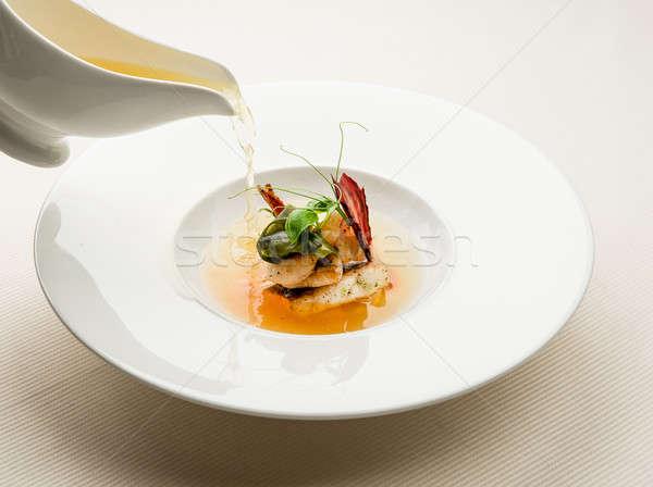 Witte kom vers zeevruchten soep diner Stockfoto © amok