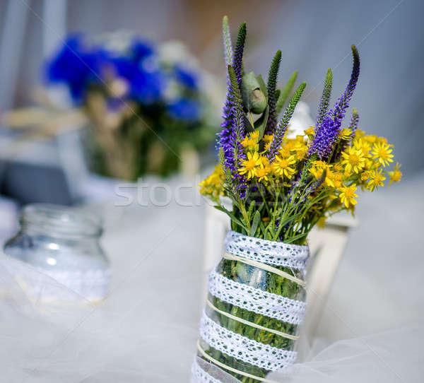 Ramo flores silvestres vidrio jar belleza hermosa Foto stock © amok