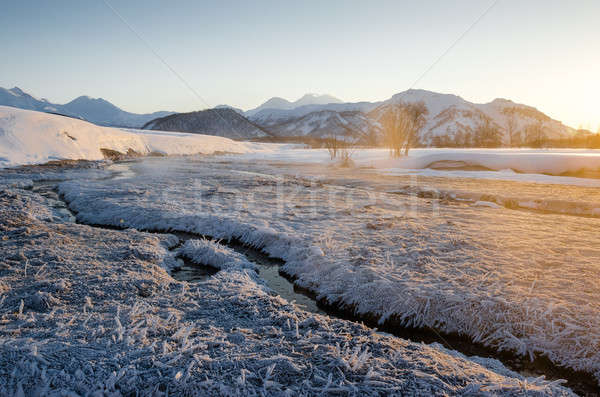 Kilátás természet park vulkán napfelkelte messze Stock fotó © amok