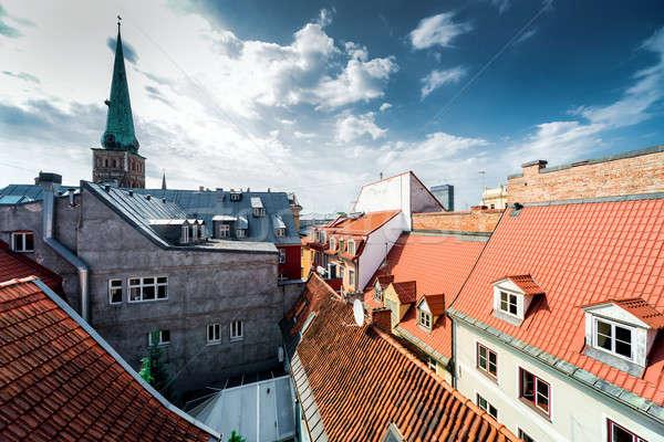 リガ 旧市街 屋根 ラトビア 空 建物 ストックフォト © amok