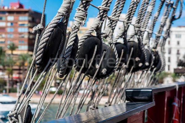 Ship shrouds,  'Santisima Trinidad' in the port of Alicante Stock photo © amok