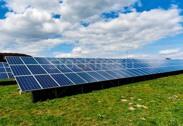 Solar panels on a green field Stock photo © amok