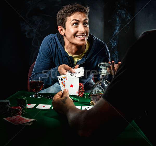Kumarbaz cam kumarhane genç poker stüdyo Stok fotoğraf © amok