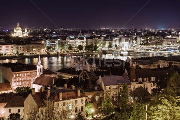 View of Pest at night, eastern part of Budapest. Hungary Stock photo © amok