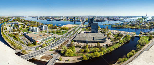Panoramic top view of Riga city, Latvia Stock photo © amok