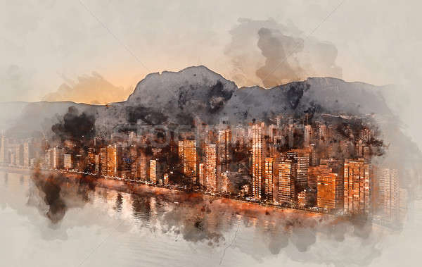 Digital watercolor painting of a Benidorm city at sunset. Spain. Stock photo © amok