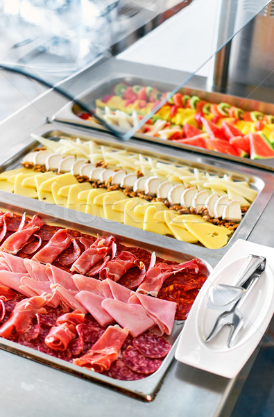 Buffet trays with a various delicious appetizers close-up Stock photo © amok