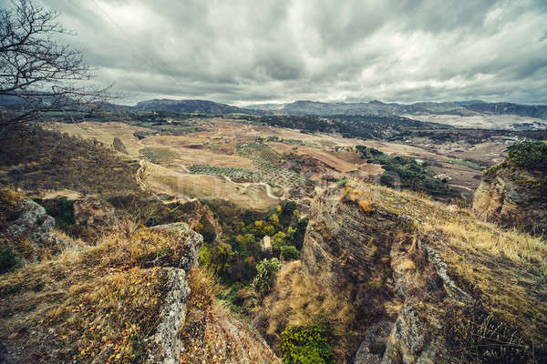 View of Ronda and surrounding countryside from the top. Province Stock photo © amok