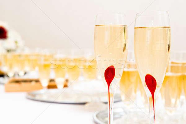 Occhiali champagne ricevimento di nozze party ristorante bere Foto d'archivio © amok